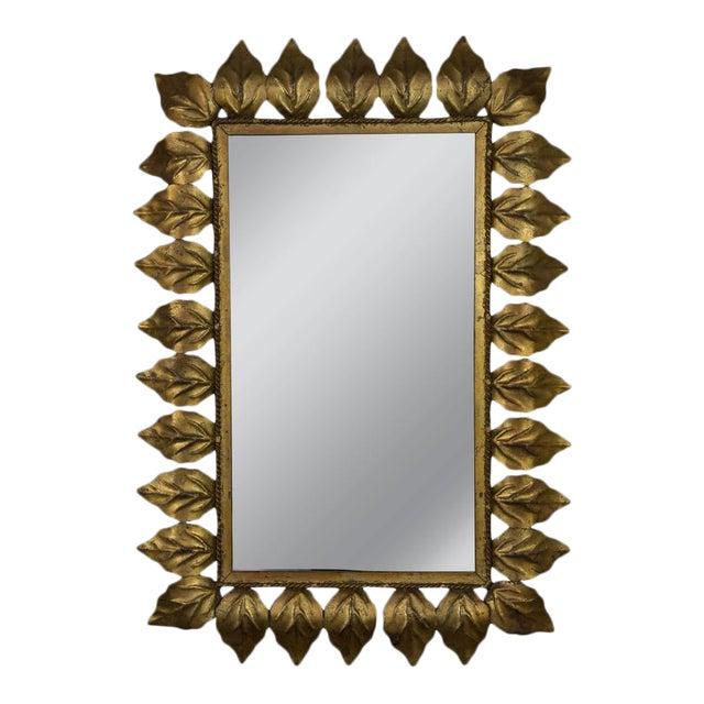 Rectangular Gilt Metal Sunburst Mirror For Sale - Image 9 of 9