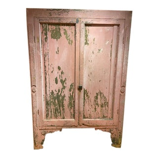 Late 19th Century Rustic Pink Armoire For Sale