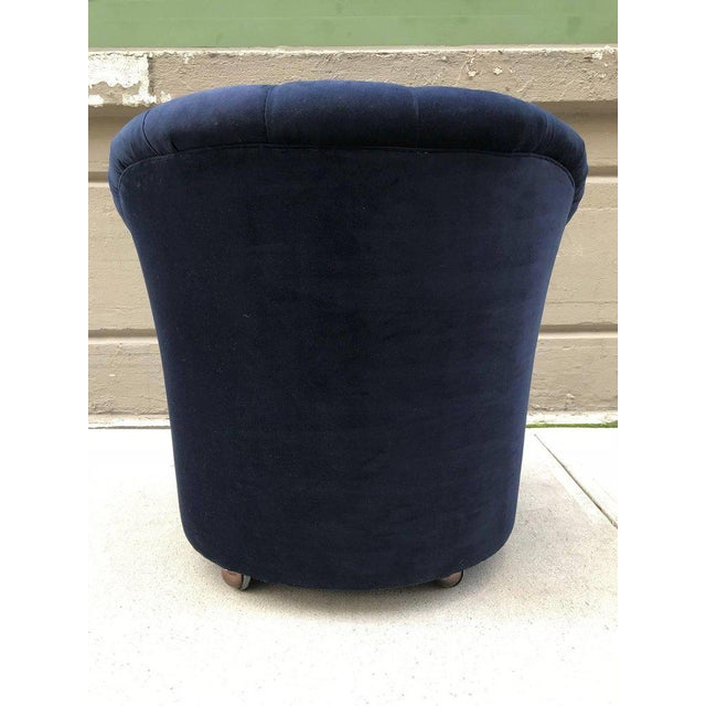 1970s Pair of Ward Bennett Tufted Lounge Chairs on Casters For Sale - Image 5 of 6