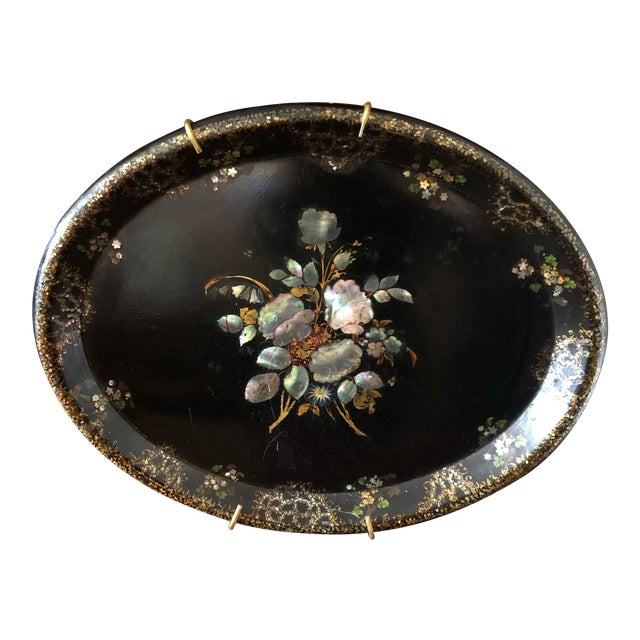 Victorian Paper Mache & Inlay Oval Tray For Sale