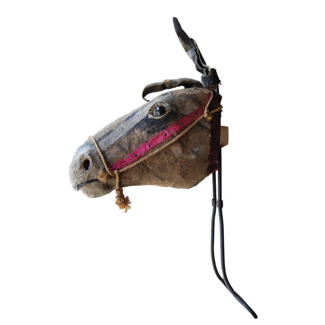 Fabulous carnival mule/horse her made of paper cache and fabric. Hand forged handle. Was used as the head of the carnival...