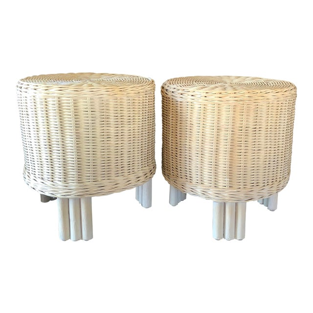 Vintage White Wicker Pouf Stools - a Pair For Sale