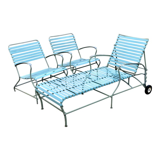 Mid Century Modern Patio Furniture Set Lounge & Chairs For Sale