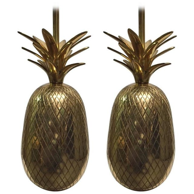 Hollywood Regency Pair of Hollywood Regency Brass Pineapple Lamps For Sale - Image 3 of 5