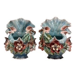 Pair of 19th Century French Barbotine Cachepots With Hand Painted Flowers For Sale