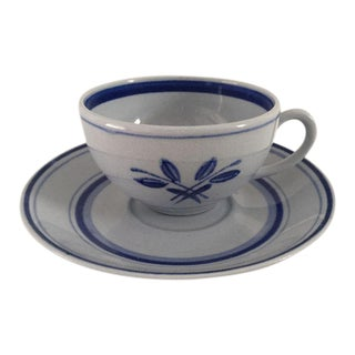 Mid-Century Hand Painted Blue Demitasse Cup & Saucers - A Pair For Sale