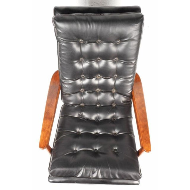 Mid-Century Modern Tufted Vinyl Lounge Chair and Ottoman - Image 6 of 10