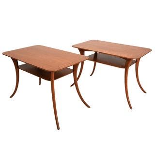 1950s Mid-Century Modern t.h. Robsjohn-Gibbings for Widdicomb Klismos Sabre Leg End Tables - a Pair For Sale