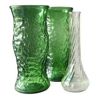 Hoosier Glass Co. Mid-Century Emerald Green and Clear Vases - Set of 3