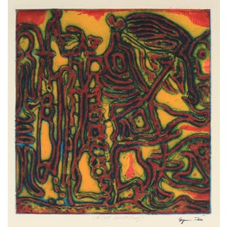 """""""Flight of the Female Chauvinist"""" Collograph on Paper in Warm Colors For Sale"""