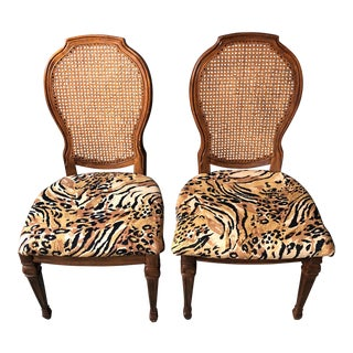Vintage Cane With Tiger Print Seats Dining / Side Chairs - a Pair For Sale