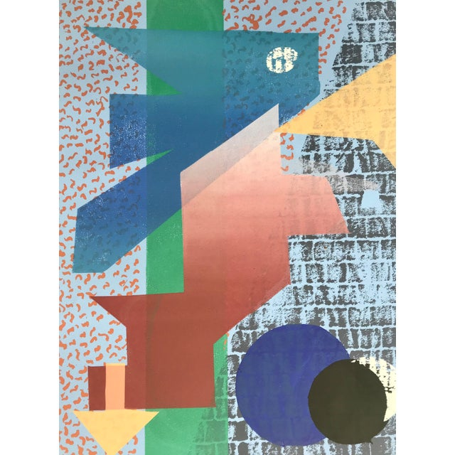 This amazing geometric abstract silk screen hails from the 1980's. Limited edition 5/6 Let the color scheme and seductive...