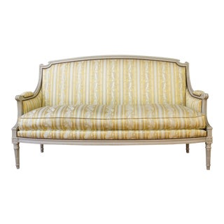 French Louis XVI Style Sofa With Painted Carved Frame For Sale