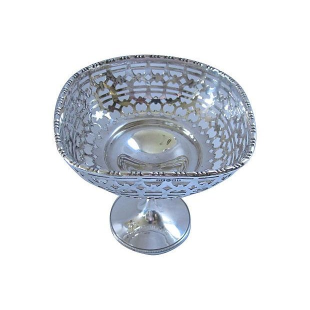 Vintage English Pierced Silverplate Pedestal Dish - Image 2 of 2