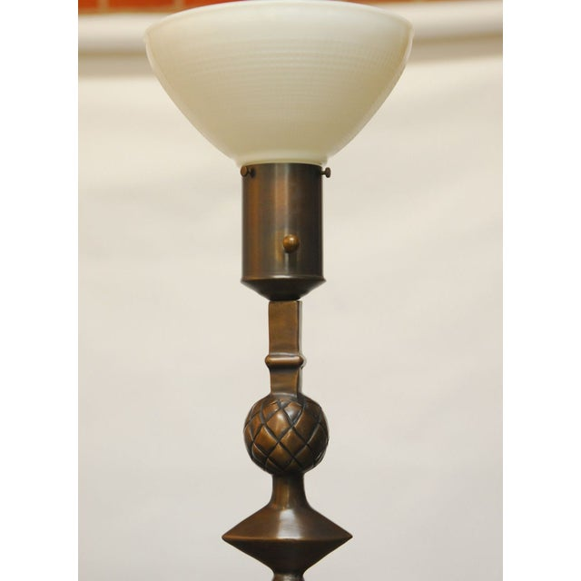 Contemporary Giacometti Style Solid Bronze Pomme De Pin Lamp For Sale - Image 3 of 7