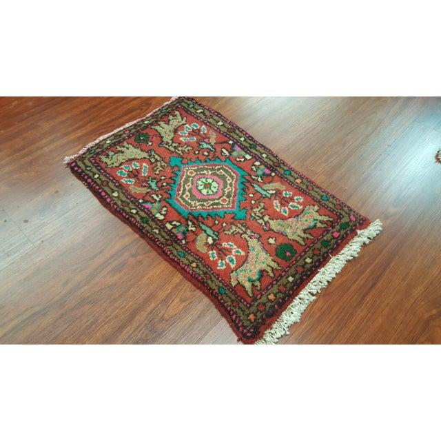 Handmade Persian Hamedan Rug - 1′3″ × 2′ - Image 3 of 3