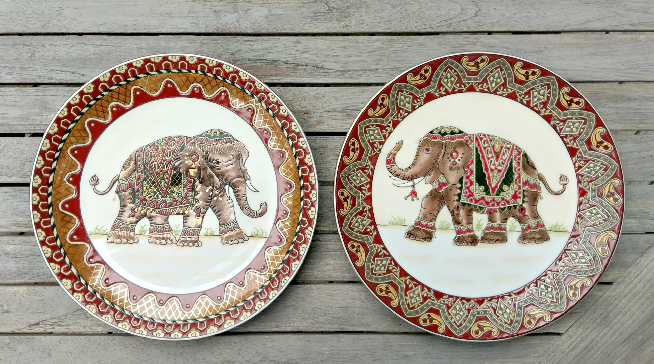 Gold Accented Elephant Plates - a Pair - Image 2 of 10  sc 1 st  Chairish & Gold Accented Elephant Plates - a Pair | Chairish