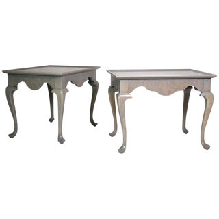 Grey Stained Queen Anne Style Side Tables - A Pair For Sale