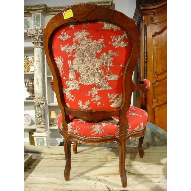 Pair of Louis XV Style Walnut Fauteuils with Toile de Jouy Upholstery For Sale - Image 10 of 10