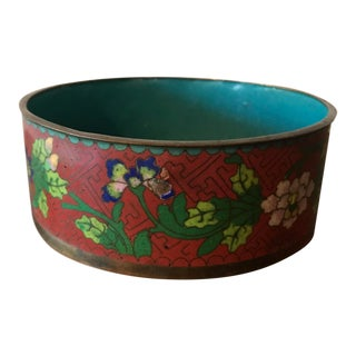 Chinese Red Green Pink Blue Floral Cloisonné Bowl