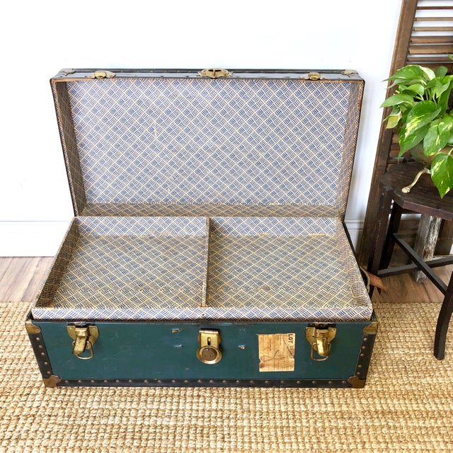 1940s Traditional Green Steamer Trunk Coffee Table For Sale - Image 11 of 13