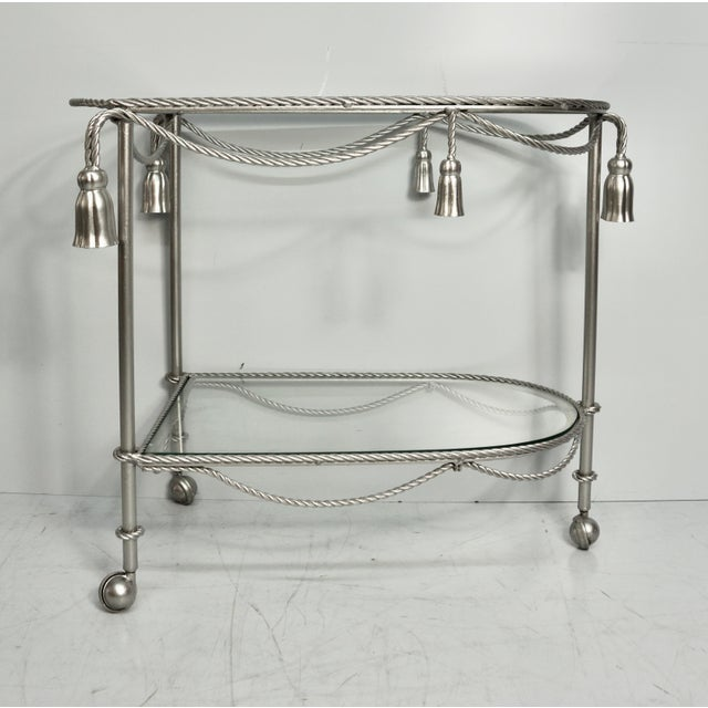 Traditional Mid 20th Century Hand Painted Metallic Rope & Tassel Bar Cart For Sale - Image 3 of 10