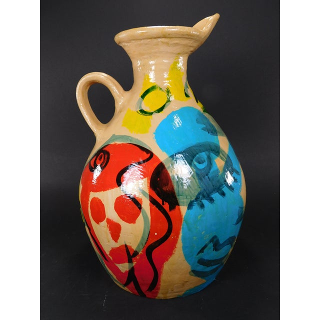 Peter Keil Painted Abstract Faces Jug For Sale - Image 5 of 8