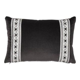 Contemporary Schumacher Gainsborough Velvet Raven Pillow - 18ʺW × 12ʺH For Sale