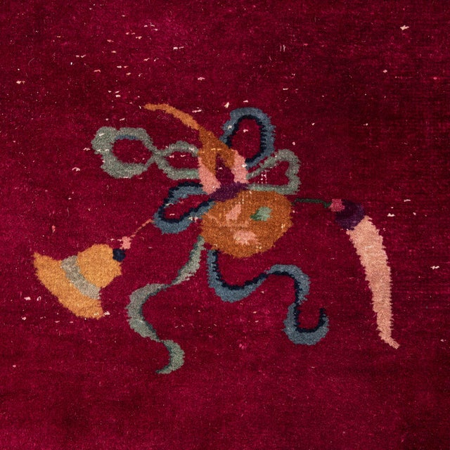 Textile Magenta Chinese Deco Carpet For Sale - Image 7 of 11