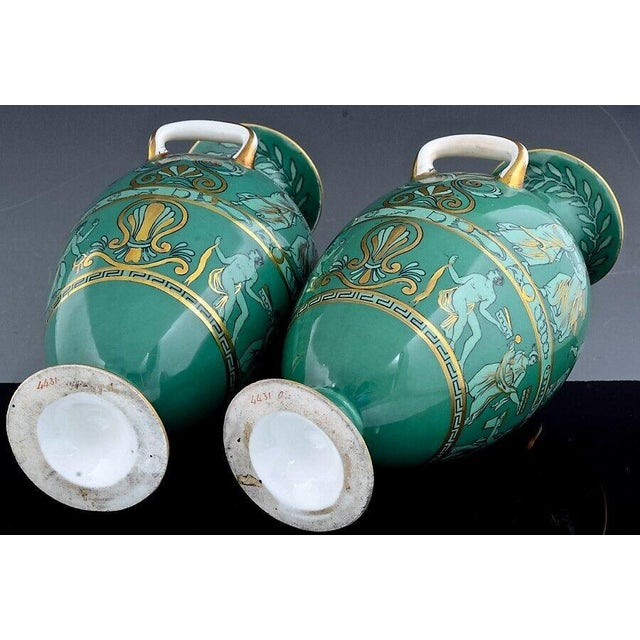English Porcelain Neoclassical Jade Green-ground Vases, Possibly Davenport Circa 1840-60 (Ref: ny9057-alr) The pair of...