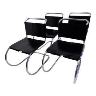 1960s Bauhaus Modern Knoll Mr10 Dining Chairs by Mies Van Der Rohe - Set of 4 For Sale