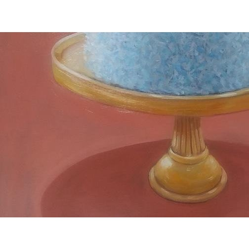 This original oil and acrylic painting on masonite of a giant coconut cake is by American artist Paula McCarty. It is...