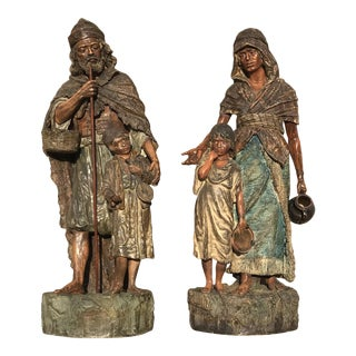 Terra-Cotta German Peasant Figures - a Pair