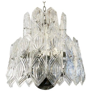 Art Deco Etched Glass Chandelier For Sale
