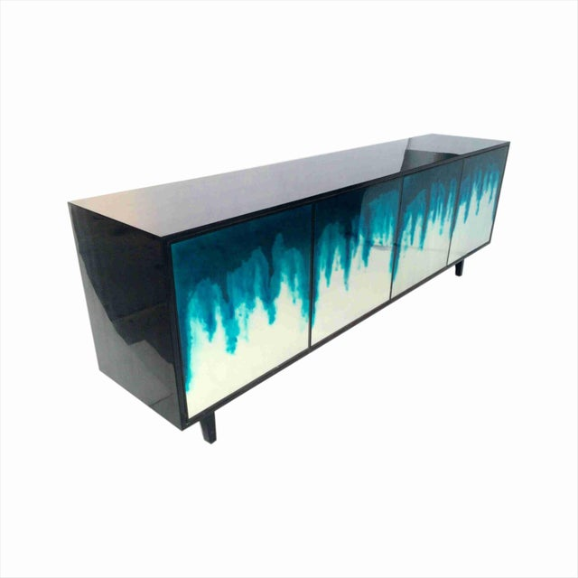 Not Yet Made - Made To Order Art Mirror 4-Door Credenza in Night Blue Ombre by Sylvan s.f. For Sale - Image 5 of 6