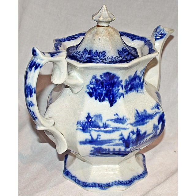 Staffordshire English Staffordshire Flow-Blue Teapot For Sale - Image 4 of 7
