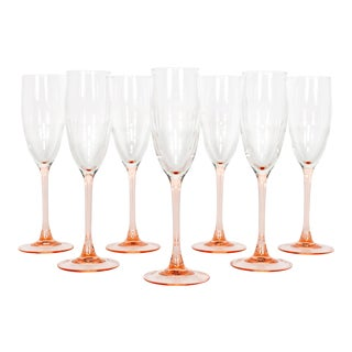 French Blush Pink Champagne Flutes - Set of 7 For Sale