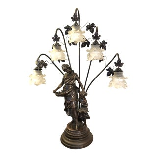 1980s Art Nouveau Spelter French Figural Newel Post Statue Lamp with Flower Shades For Sale