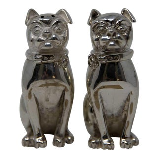 Thistle & Bee London Sterling Silver Dog Salt & Pepper Shakers For Sale