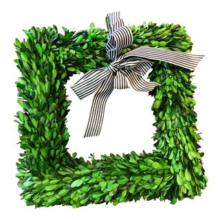 Boxwood Wreath W Striped Bow