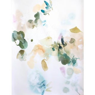 "Elise Morris ""Certain Rarity 4"" Abstract Floral Painting on Paper For Sale"