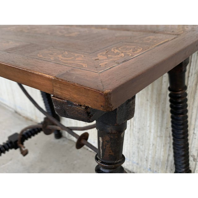 19th Century Baroque Spanish Side Table With Marquetry Top & Turned Legs For Sale - Image 9 of 13