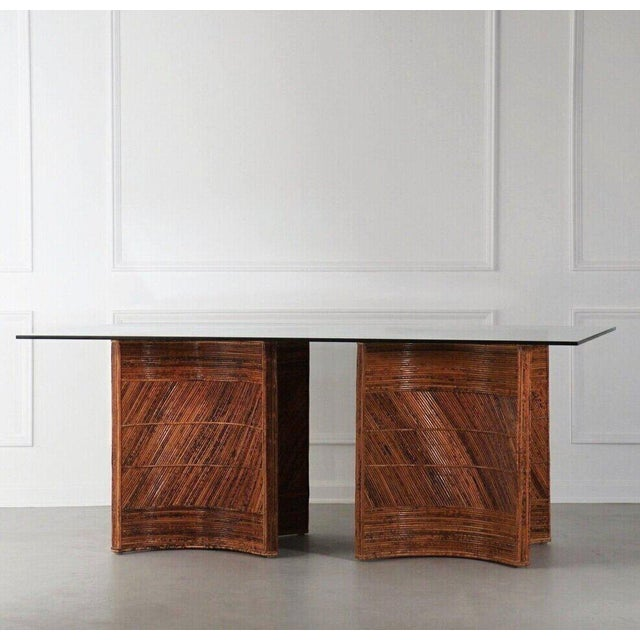 Tan Sculptural Split Reed Double Pedestal Dining Table After Gabriella Crespi For Sale - Image 8 of 8