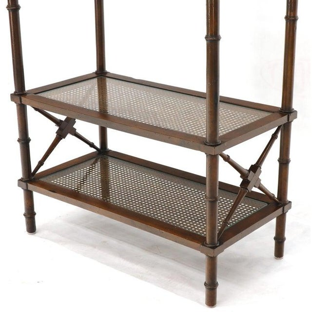 X Stretchers Faux Bamboo Cane and Glass Shelves Étagère Shelves For Sale - Image 10 of 13