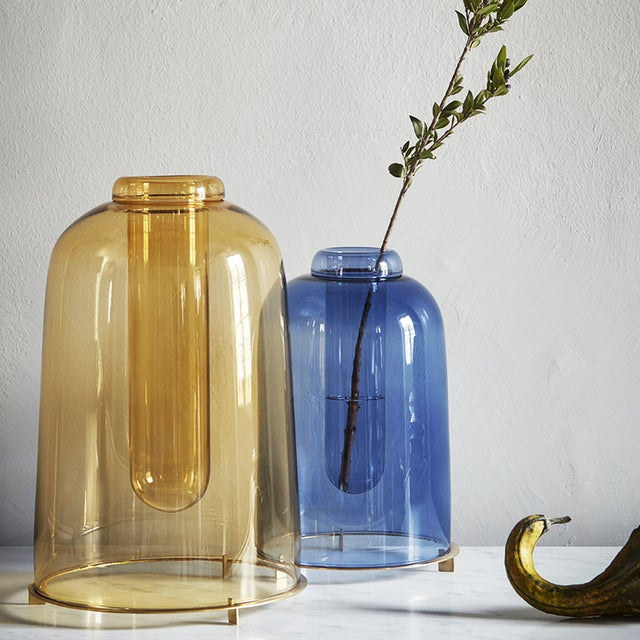 Blue Blown Glass Vase the Short by Paola C for Design Italy For Sale - Image 4 of 6