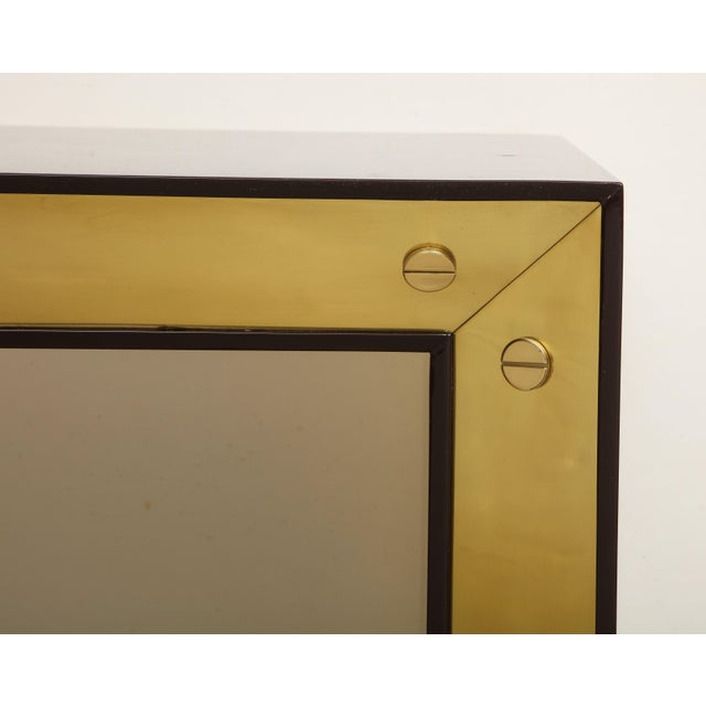 Contemporary Brown Lacquered Console with Brass Accents For Sale - Image 3 of 9