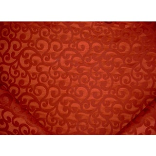 Brunschwig Et Fils Volute Damask Rust Red Scroll Damask Upholstery Fabric - 22y For Sale