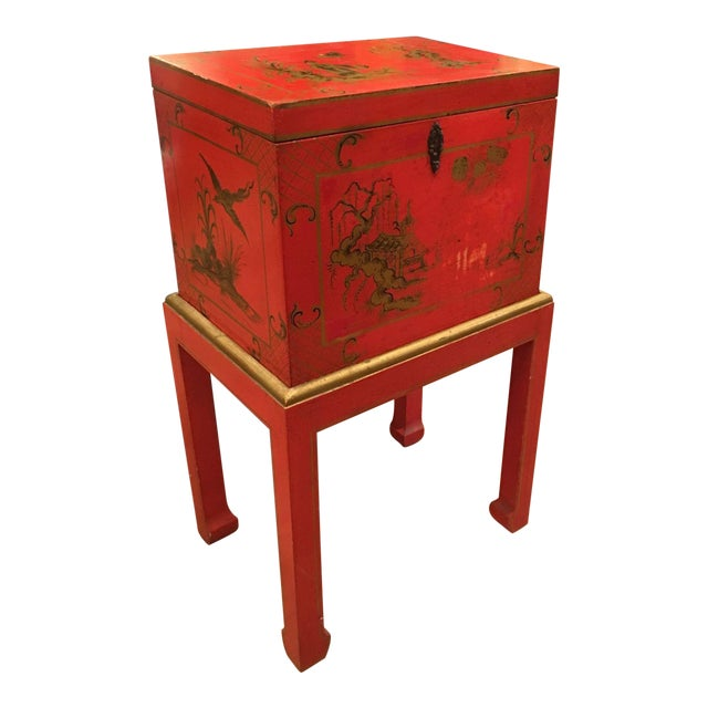 Red Chinoiserie Chest Box on Stand Table - Italy - Image 1 of 4