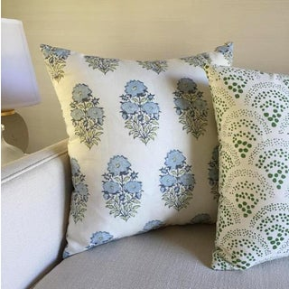 Mughal Flower Pillow Cover in Monsoon Blue Preview