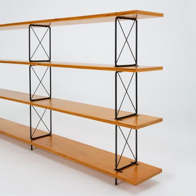 Metal Modernist Mahogany Bookshelf With Black Wire Frame For Sale - Image 7 of 13